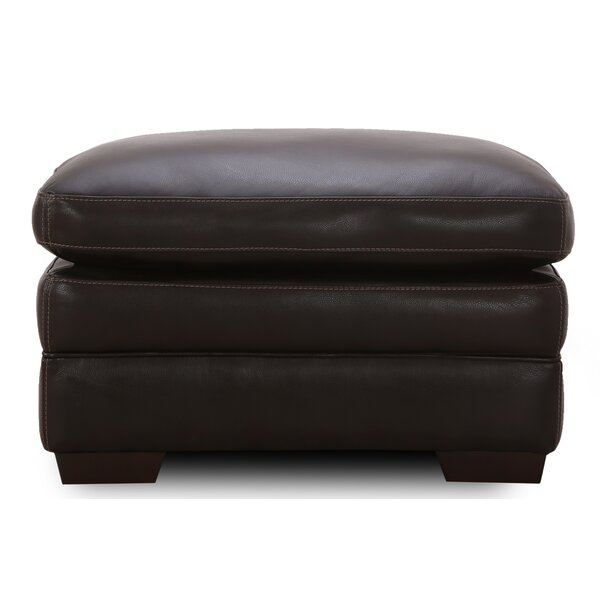Broad Leather Ottoman by Canora Grey