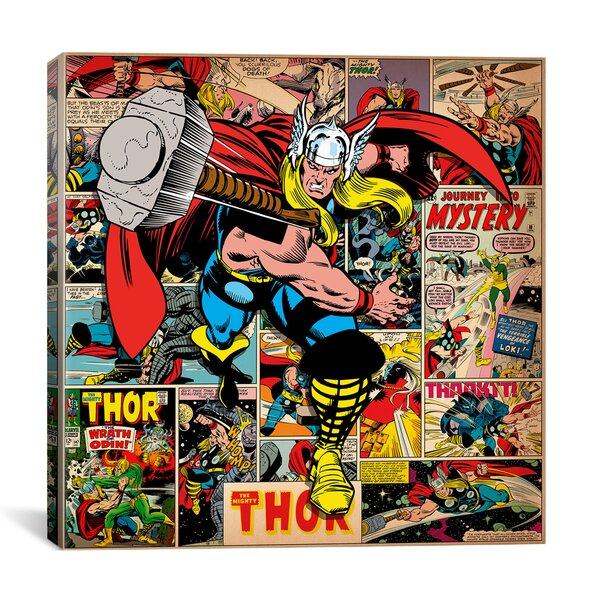 Marvel Comics Book Thor Covers and Panels Graphic Art on Wrapped Canvas by iCanvas