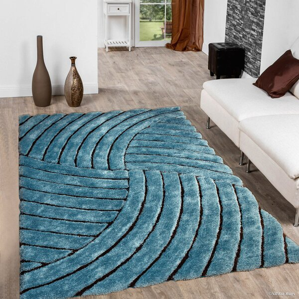 Hand-Tufted Sky Blue Area Rug by AllStar Rugs