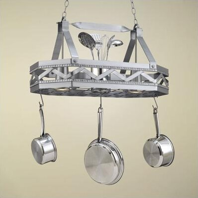 Sonoma 8 Sided Hanging Pot Rack with 2 Lights by Hi-Lite