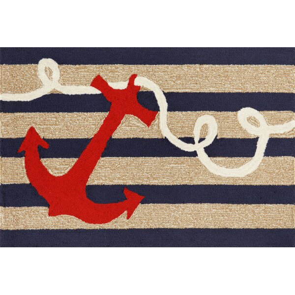 Walton Anchor Navy Indoor/Outdoor Area Rug by Breakwater Bay