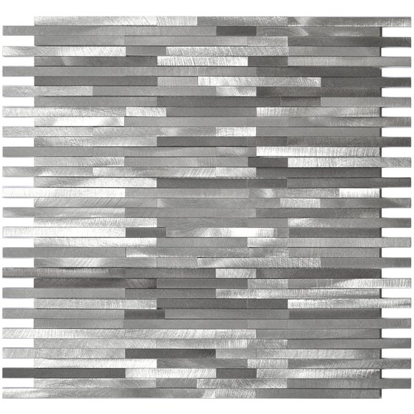 Blends Thin Lines 12 x 11.75  Aluminum Mosaic Tile in Gray by Eden Mosaic Tile