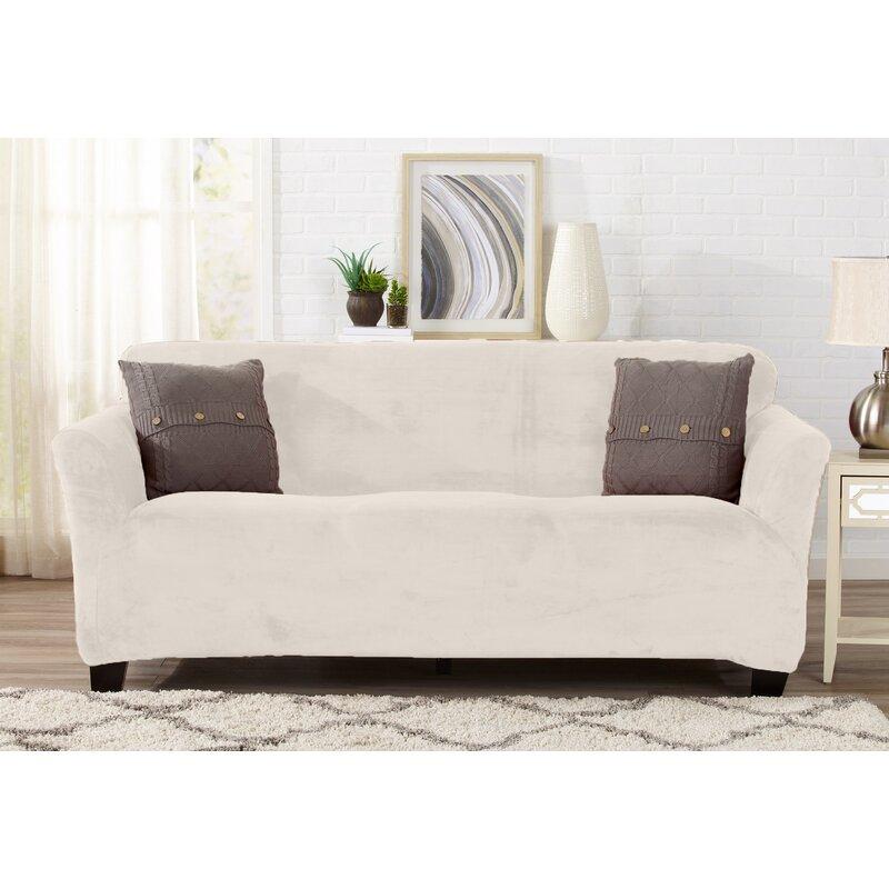 Velvet Plush Form Fit T Cushion Sofa Slipcover