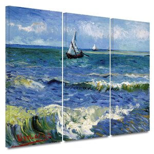'Seascape at Saintes Maries' by Vincent van Gogh 3 Piece Painting Print on Canvas Set by ArtWall