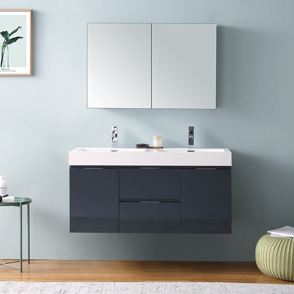 Senza Valencia 48 Wall Mounted Double Bathroom Vanity Set with Mirror by Fresca