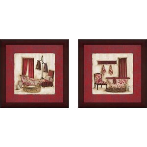Ruby Romance' 2 Piece Framed Acrylic Painting Print Set Under Glass by Charlton Home
