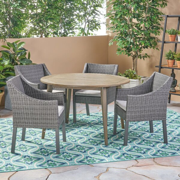 Julius Outdoor 5 Piece Dining Set with Cushions by Bungalow Rose