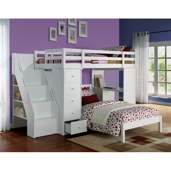 Riaz Twin over Twin Loft Bed with Desk and Drawers by Harriet Bee