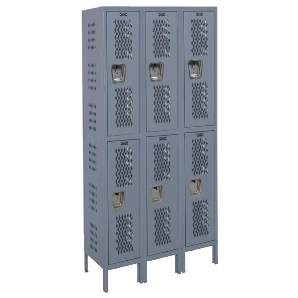 Heavy Duty 2 Tier 3 Wide Gym Locker by Hallowell