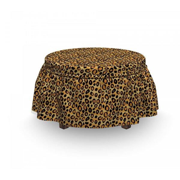 Leopard Print Wild Feline Tile 2 Piece Box Cushion Ottoman Slipcover Set By East Urban Home