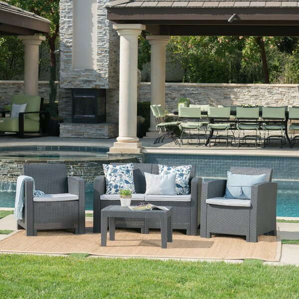 Yoselin 4 Piece Rattan Sofa Seating Group with Cushions by Andover Mills