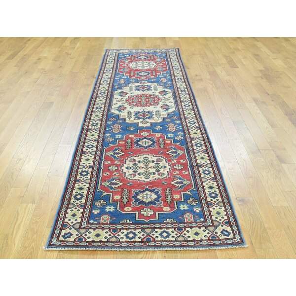 One-of-a-Kind Bechtold Geometric Design Handwoven Blue Wool Area Rug by Isabelline