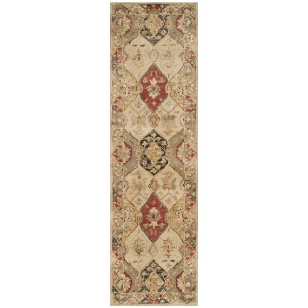 Byblos Traditional Hand-Tufted Wool Beige Area Rug by Astoria Grand