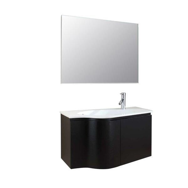 Allison 35 Single Floating Bathroom Vanity Set with Mirror by Langley Street