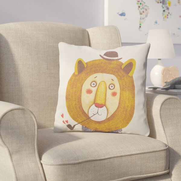 Cooke Lion Cotton Throw Pillow by Harriet Bee