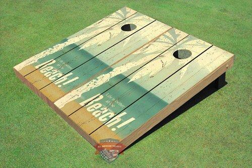 NCAA 10 Piece Hammock Beach Themed Cornhole Boards Bag Toss Set by All American Tailgate