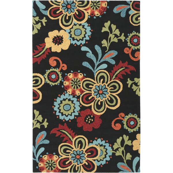 Lockard Modern Floral Black/Red/Blue Area Rug by Red Barrel Studio