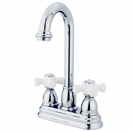 Porcelain Cross Double Handle Kitchen Faucet by Elements of Design