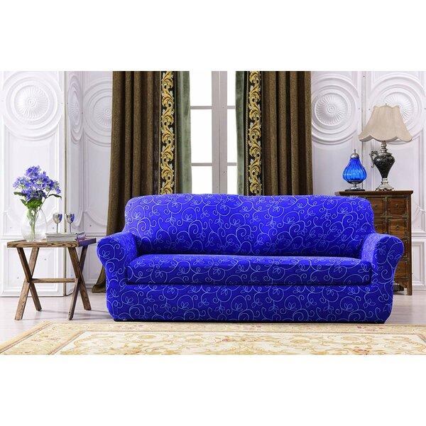 Printed Spandex Box Cushion Loveseat Slipcover by House of Hampton