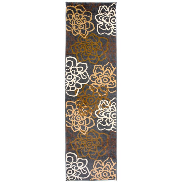 Elliott Bay Floral Flowers Brown/Gray Area Rug by Andover Mills