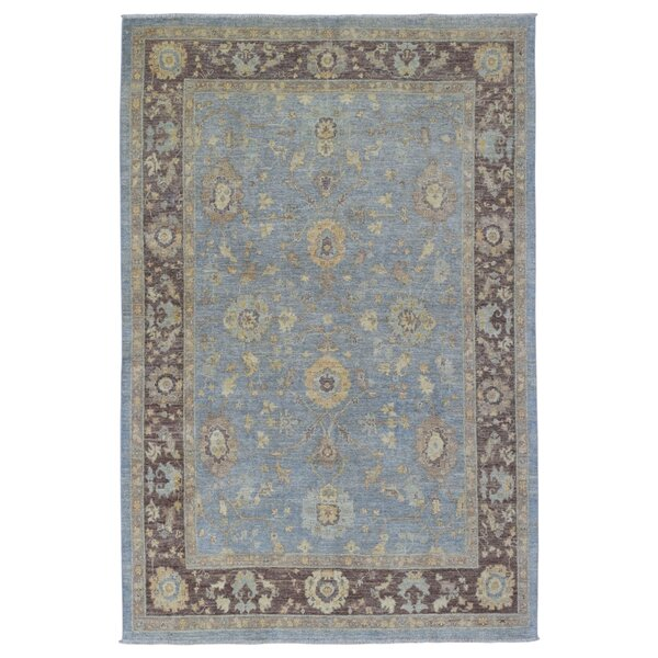 One-of-a-Kind Evert Peshawar Hand-Woven Wool Blue Geometric Area Rug  by Darby Home Co