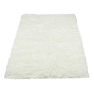 Find Darnell Faux Fur White Area Rug By Mercury Row