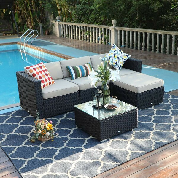 Hadnot Outdoor 5 Piece Rattan Sectional Seating Group with Cushions by Wrought Studio