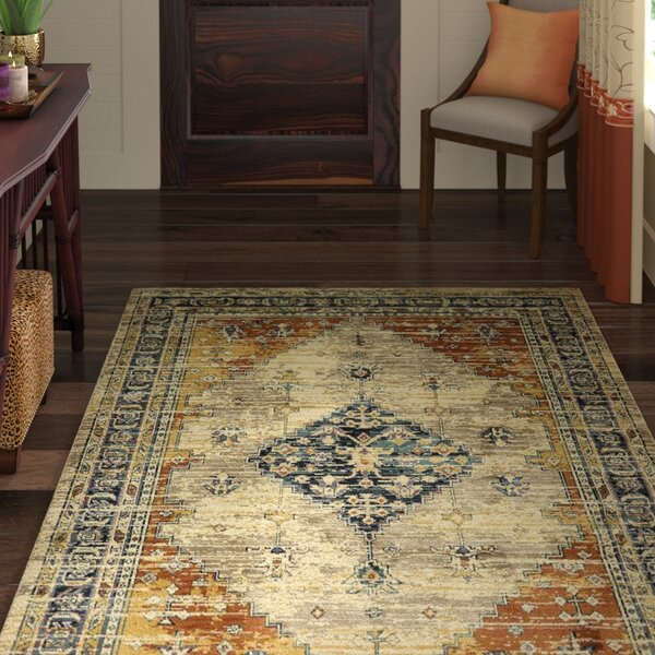 Daubenton Beige/Slate Blue Area Rug by World Menagerie