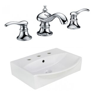 Best Reviews Ceramic Rectangular Bathroom Sink with Faucet and Overflow ByAmerican Imaginations