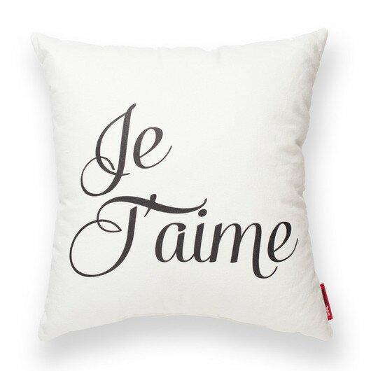Expressive Je Taime Decorative Cotton Throw Pillow by Posh365