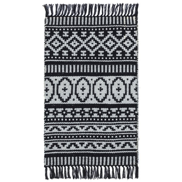 Bruges Hand-Woven Black/White Area Rug by Bungalow Rose