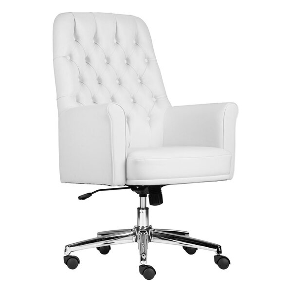 Cisbrough Mid-Back Traditional Tufted Swivel Office Chair by Canora Grey