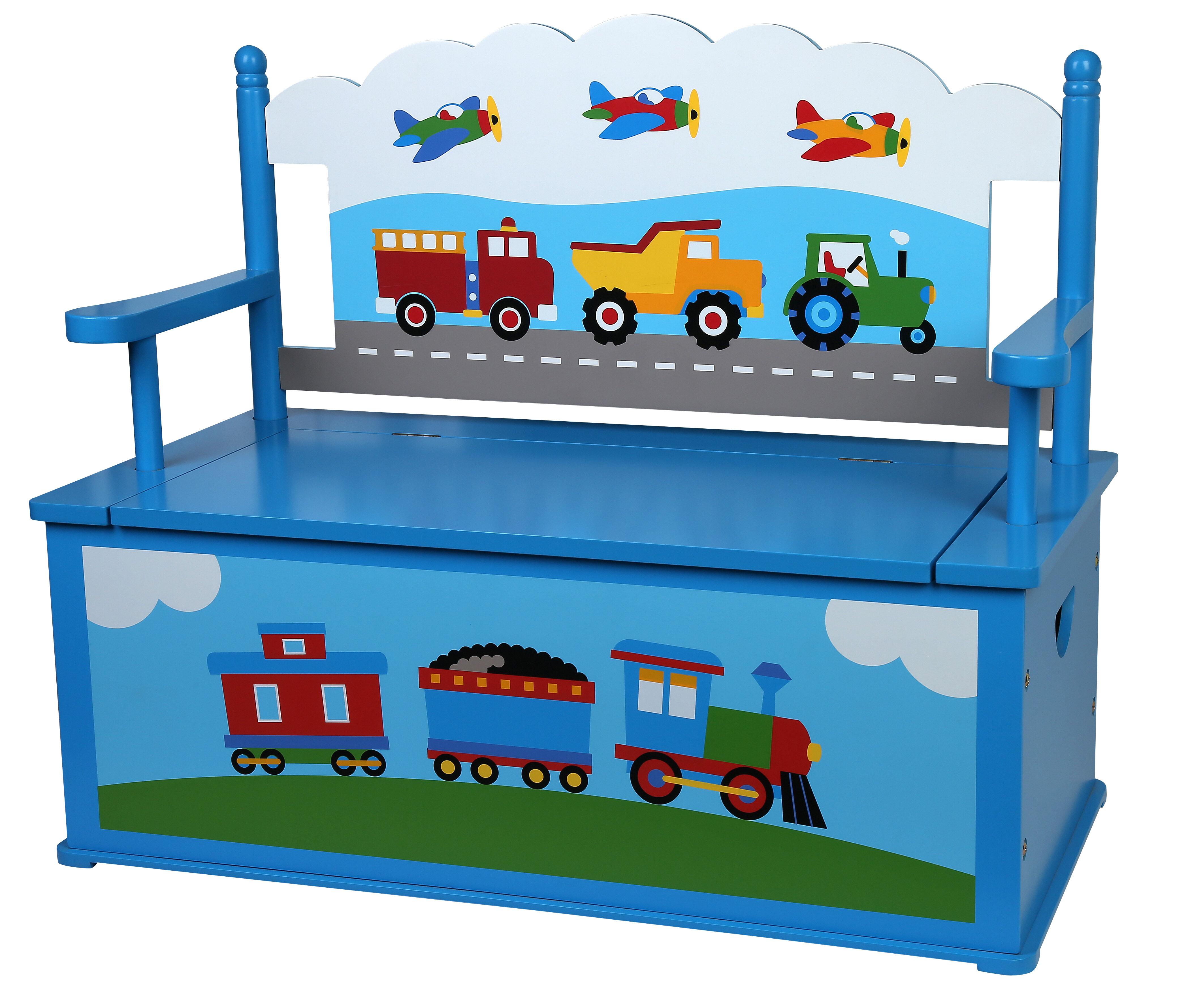 Olive Kids Olive Trains, Planes, Trucks Kids Bench with Storage ...