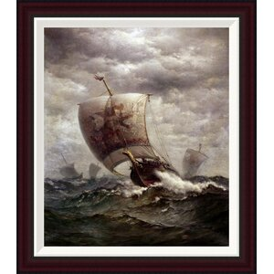 Viking Ships at Sea by James Gale Tyler Framed Painting Print by Global Gallery