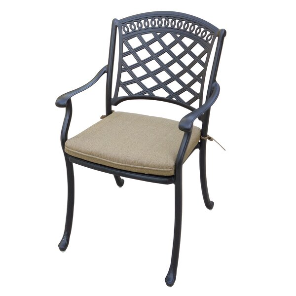 Lenahan Stacking Patio Dining Chair with Cushion (Set of 4) by Alcott Hill Alcott Hill