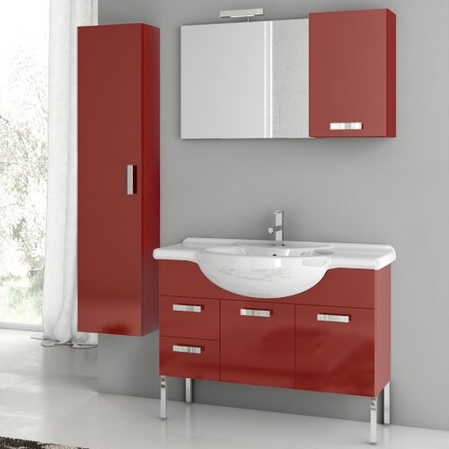 Phinex 41 Single Bathroom Vanity Set with Mirror by ACF Bathroom Vanities