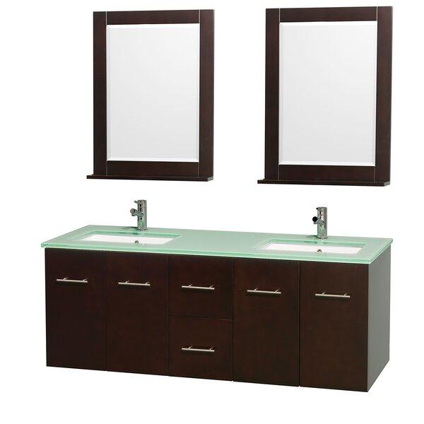 Centra 60 Double Espresso Bathroom Vanity Set with Mirror by Wyndham Collection