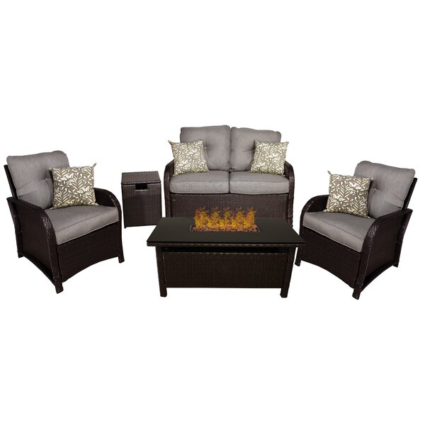 Coventry 5 Piece Rattan Sofa Seating Group with Cushions by Bayou Breeze