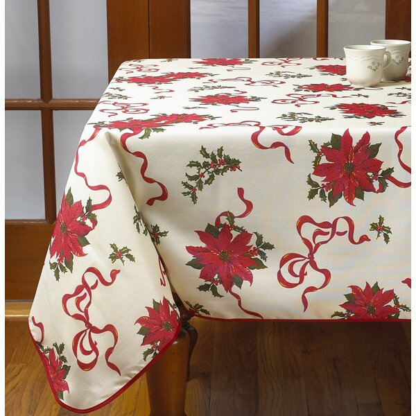 Poinsettias and Bows Decorative Christmas Tablecloth by The Holiday Aisle