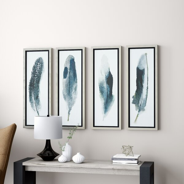 Feathered Beauty Prints 4 Piece Framed Graphic Art Set by Brayden Studio