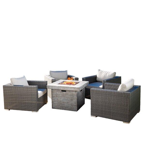 Cabral 5 Piece Rattan Sunbrella Conversation Set with Cushion by Sol 72 Outdoor