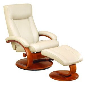 Flathead Lake Leather Manual Swivel Glider Recliner With Ottoman by Red Barrel Studio