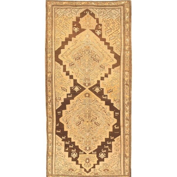 One-of-a-Kind Hand-Knotted 1920s Karabagh Brown 4'7 x 9'7 Runner Wool Area Rug