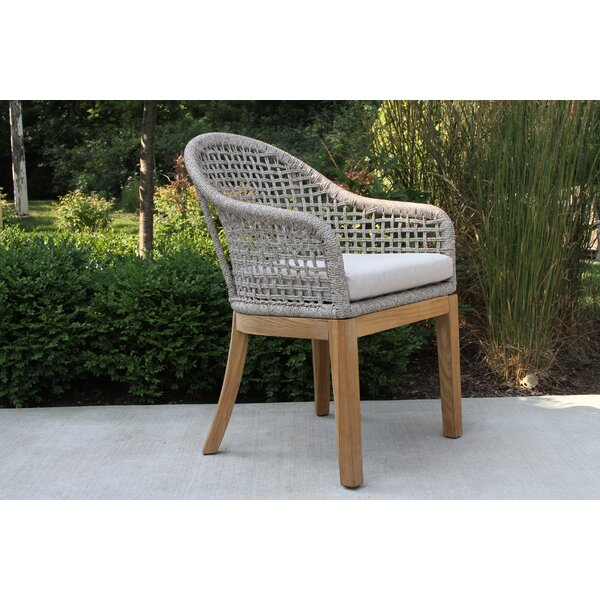 Caelan Teak Patio Dining Chair with Cushion (Set of 2) by Beachcrest Home