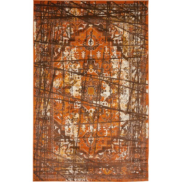 Yareli Brown/Terracotta Area Rug by Bungalow Rose