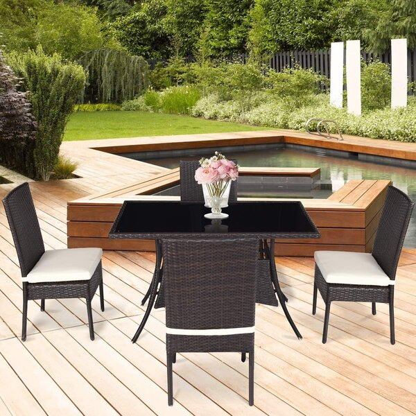 Kutsal Outdoor 5 Piece Dining Set with Cushions by Latitude Run