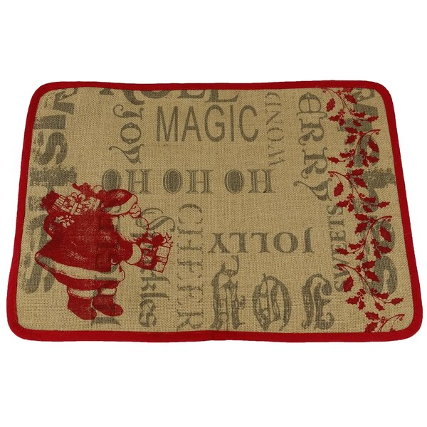Saint Nick Christmas with Printed Burlap Placemat by Xia Home Fashions