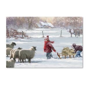 'Feeding Sheep' Print on Wrapped Canvas by The Holiday Aisle