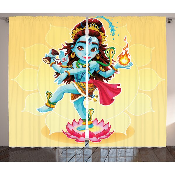 Tomo Yoga Graphic Print and Text Semi-Sheer Rod Pocket Curtain Panels (Set of 2) by World Menagerie