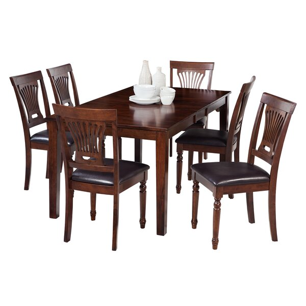 Downieville-Lawson-Dumont 7 Piece Solid Wood Dining Set with Rectangular Table by Loon Peak